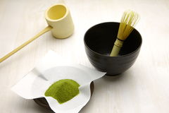Japanese traditional tea set with powdered green tea Royalty Free Stock Photos