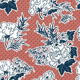 Japanese traditional vector illustration peony pattern seamless stock images