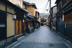 Japanese traditional wooden house in Gion street, Kyoto Stock Photo