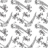 Japanese traditonal seamless pattern with birds Stock Photos