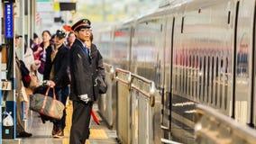 Japanese Train Conductor Stock Photo