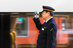 Japanese Train Conductor Stock Image
