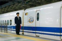 Japanese train conductor Stock Photos
