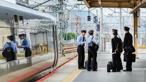 Japanese Train Conductors Stock Photo