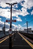 Japanese train station platform royalty free stock photo