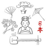 Japanese travel and cultural sketch icons Stock Photos