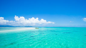 Japanese tropical paradise with coral cay and clear water. Coral cay and clear blue tropical water of Sekisei Lagoon, Yaeyama Islands, Okinawa, Japan Stock Photos