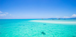 Japanese tropical paradise with coral cay and clear water. Coral cay and clear blue tropical water of Sekisei Lagoon, Yaeyama Islands, Okinawa, Japan Stock Photography