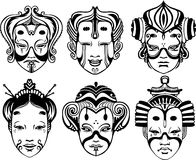 Japanese Tsure Noh Theatrical Masks Stock Photo