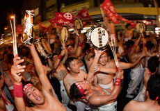 Japanese tug of war victors celebrate Royalty Free Stock Image