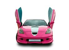 Japanese tuning sports car with lambo doors. White background. Royalty Free Stock Photography