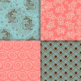 Japanese turqiouse and pink pattern set Stock Photography