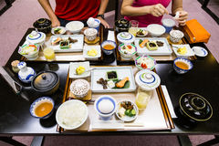 Japanese typical healthy breakfast set. On table Stock Image