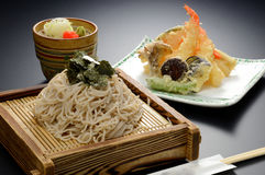 Japanese Udon noodle with seaweed and shrimp tempura on bamboo t Stock Images