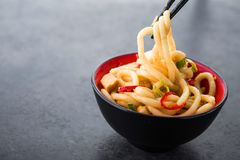 Japanese udon noodles with chopstick. And red pepper on a background. spicy japanese meal Royalty Free Stock Photos