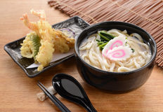 Japanese Udon noodles. With tempura and vegetable Stock Images