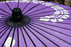 Japanese Umbrella. Purple paper Japanese umbrella in a garden stock photography