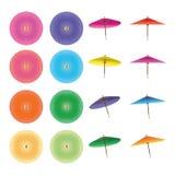 Japanese umbrella circle set. This illustration is drawing Japanese umbrella circle and holding position set in isolated white color background Stock Photo