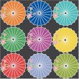 Japanese umbrellas. Japanese style umbrellas on black background Stock Photography