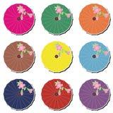 Japanese umbrellas on white Stock Photos