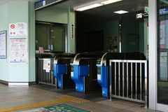 Japanese unmanned monorail station ticket gates Stock Photos