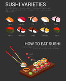 Japanese variety of sushi and chopsticks Royalty Free Stock Image