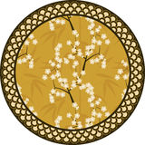 Japanese vector round pattern with bamboo, sakura and traditional ornaments illustration Stock Photo