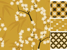 Japanese vector seamless patterns set with bamboo, sakura and traditional ornaments illustration Stock Photos