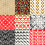 Japanese vector seamless patterns set stock illustration