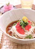 Japanese vermicelli noodle. Japanese cold vermicelli noodle with marinated pollock roe and shiso royalty free stock photos