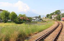 Japanese Village with Fuji Mountain in Background Stock Photo