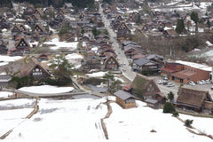 Japanese village shirakawago in winter Stock Photo