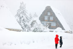 Japanese village at winter Stock Images