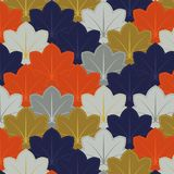 Japanese vintage leaf pattern. In orange, silver, purple and gold Royalty Free Stock Photography