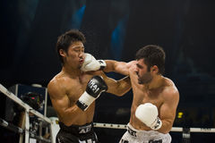 Japanese vs turkish thai boxer in bangkok Stock Photo