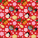 Japanese wallpaper. Setsubun:Japanese traditional event on February 3. People throw soy-beans at devil and eat roll-sushi Royalty Free Stock Images