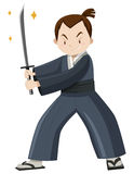 Japanese warrior with sword Royalty Free Stock Image