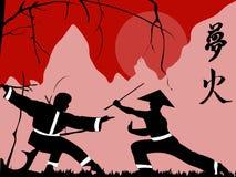 Japanese warriors background stock illustration