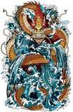 japanese water dragon illustration Royalty Free Stock Photos