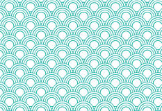 japanese wave circle pattern green and white background Royalty Free Stock Image