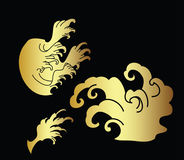Japanese wave tattoo design vector Royalty Free Stock Image