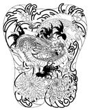 Japanese wave for tattoo. hand drawn Dragon and koi fish with flower tattoo for back. Hand drawn Dragon and koi fish with flower tattoo for Arm, Japanese carp Royalty Free Stock Images