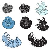 Japanese wave for tattoo. Hand drawn isolate on white background.  Stock Images