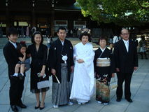 Japanese wedding. Family portrait after a religious ceremony stock image