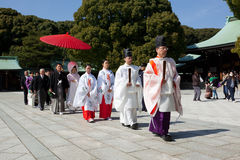 Japanese Wedding ceremony. Traditional Japanese wedding ceremony in Meiji-Jingu Shrine, Tokyo, Japan. Meiji Shrine (Meiji Jingu), located in Shibuya, Tokyo, is Stock Images