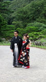 Japanese wedding couple in Ritsurin Koen Garden Takamatsu Japan Royalty Free Stock Images