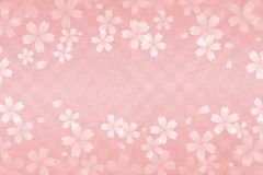 Japanese cherry blossom abstract on pink checkered pattern paper background. Japanese white cherry blossom abstract on pink checkered pattern paper background Royalty Free Stock Image