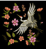 Japanese white crane and flowers elements. Embroidery vector. Stock Images