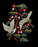 Japanese white cranes with red flowers. Embroidery vector Stock Image