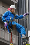 Japanese  Window Cleaner in Tokyo Stock Photo
